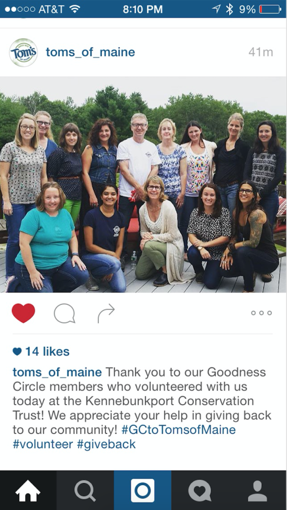 Tom's of Maine staff + bloggers for an afternoon of volunteering.