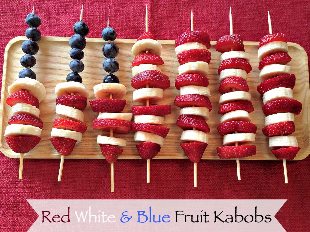 Red White Blue 4th of July Memorial Day Fruit Kabobs