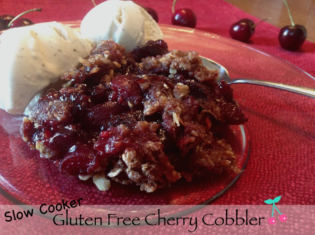 Gluten Free Cherry Cobbler with fresh cherries in the Slow Cooker