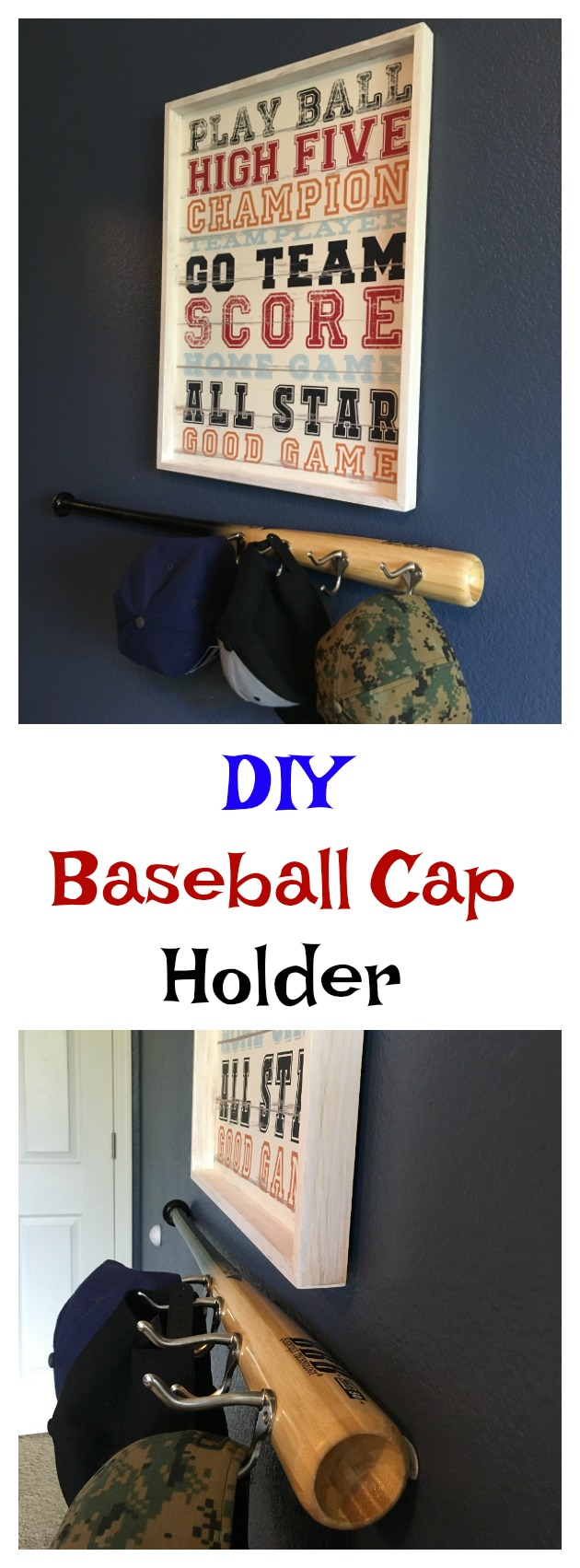 DIY Baseball Cap Holder for Boys Baseball Bedroom