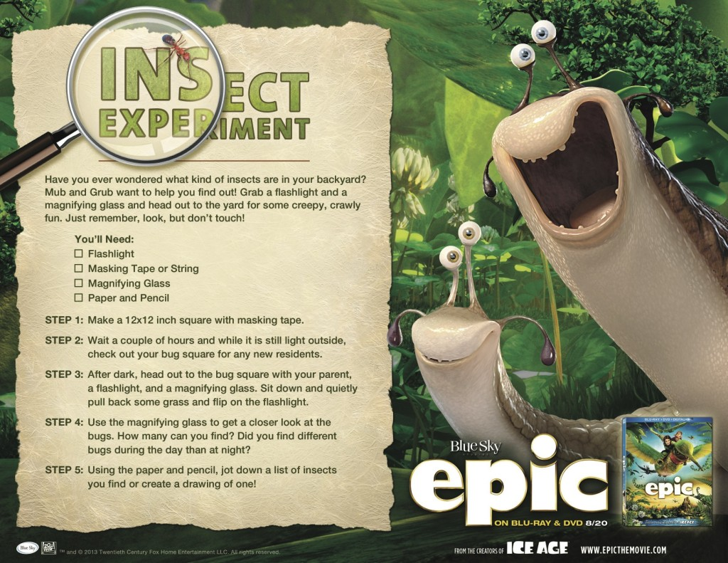 Epic Movie Printables  Epic Insect Experiment