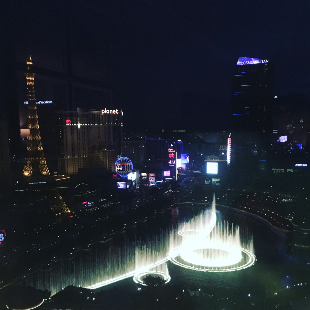First Time in Las Vegas Nighttime Strip with Fountains