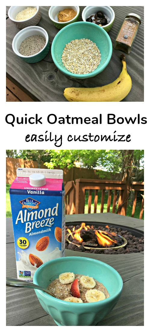 Quick Oatmeal Bowls that you can easily customize for the whole family with their favorite mix-ins.